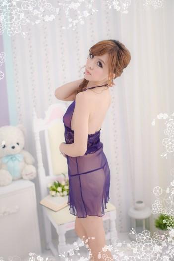 Glossy Purple Sexy Dress