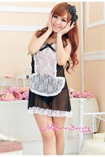 Black Transparent Sexy Maid