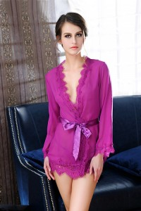 Lace Sleeved Sexy Robe-Purple