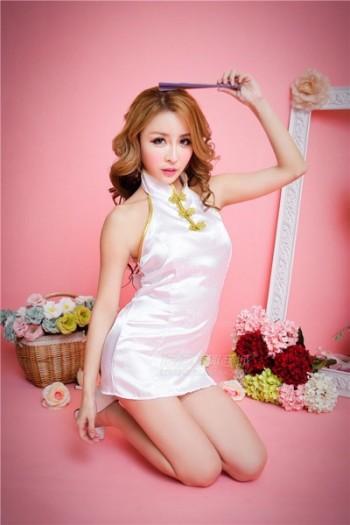White Back Open Cheongsam