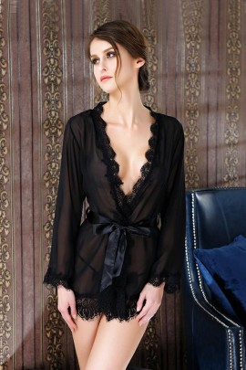 Lace Sleeved Sexy Robe
