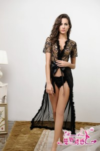 Long Lace Sexy Lingerie Robe