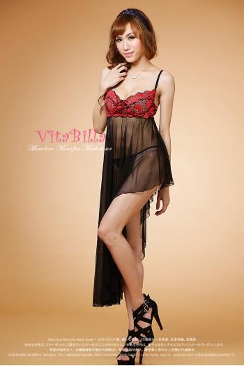 [VitaBilla] Black Red Side Long