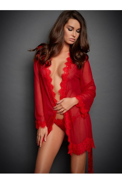 Lace Sleeved Sexy Robe-Red