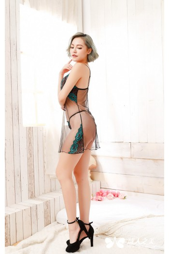 Sexy Transparent Lace Lingerie - Green