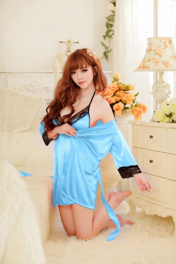 Lace Satin Robe Set