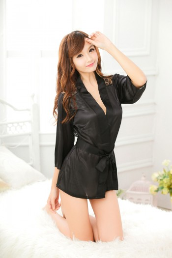 Black Rose Sexy Robe