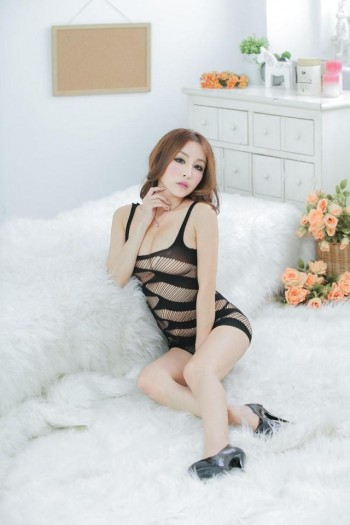 Half Body Fishnet Lingerie 4 (Black)