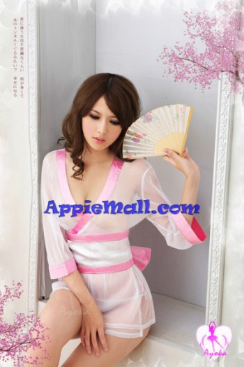 Transparent Kimono Style Gown White