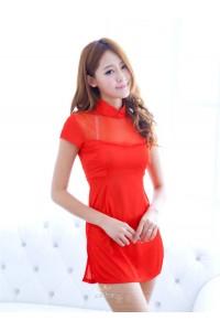 Half Suit Red Cheongsam