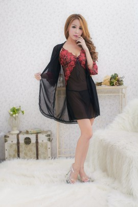 Black Embroidery Lingerie Robe